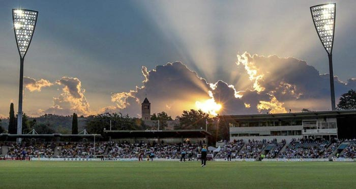 The Manuka Oval at dusk with the new lighting masts in position