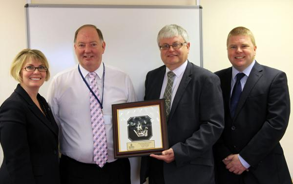 Left to right: Spatial Global's Rachel Morley and Bryan Hindle with Emirates' Phil Rawlings and Ross Barnett at the Award presentation in Castle Donington in May 2013