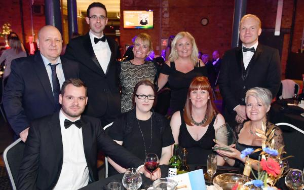 Back row (left to right): Spatial Global's John Irving, Andy Berry, Rachel Morley, Shelley Chapman and Quinten Evans; Front row: Ben Smedley, Emma Jessamine, Natalie Stafford and Su Robey at the Derbyshire Business Awards gala dinner
